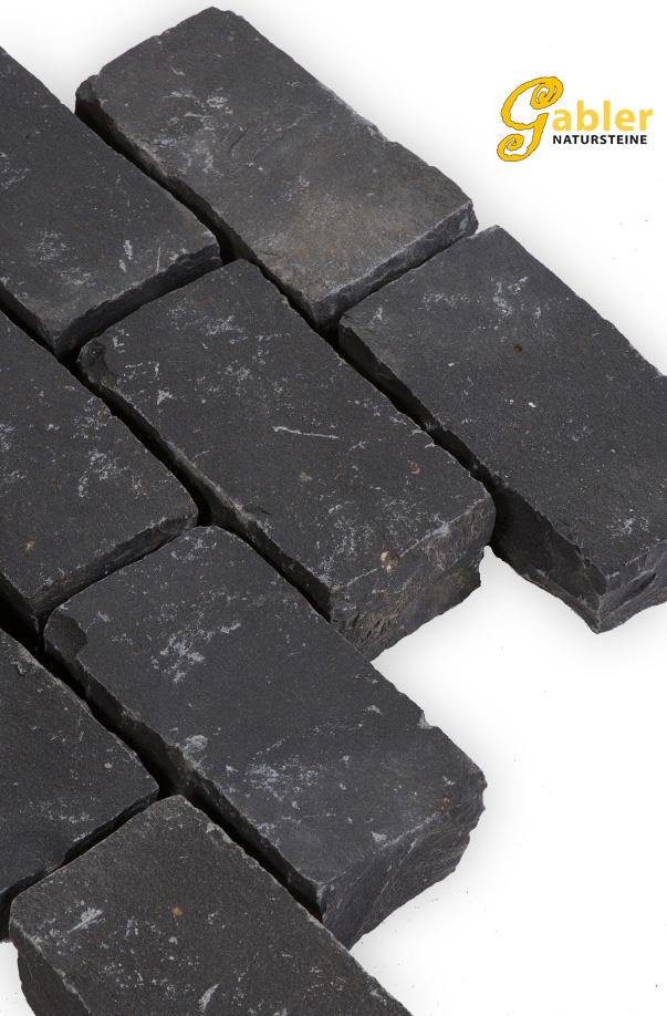 Pflastersteine Basalt schwarz gespalten